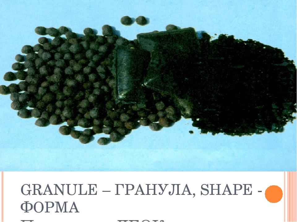 GRANULE – ГРАНУЛА, SHAPE - ФОРМА Продукция ЛГОКа: окатыши, брикеты
