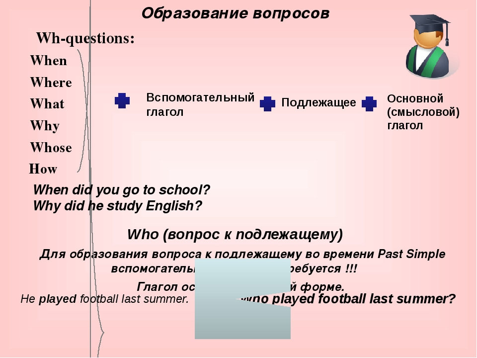 Wh-questions: When Where What Why Whose How Who (вопрос к подлежащему) Для об...