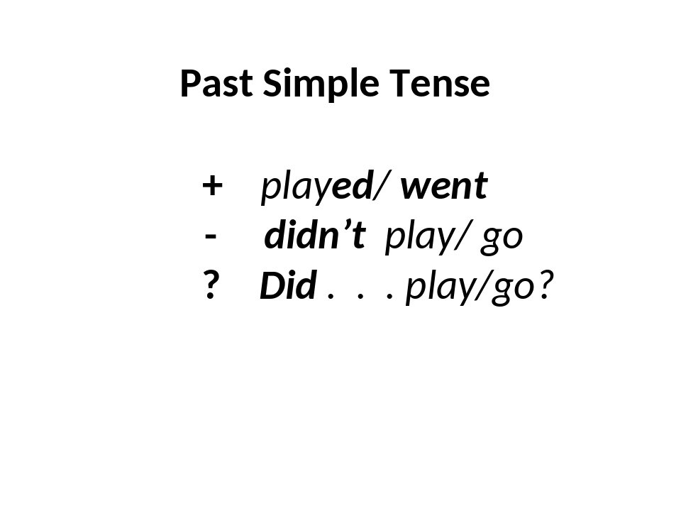 Past Simple Tense + played/ went - didn't play/ go ? Did . . . play/go?