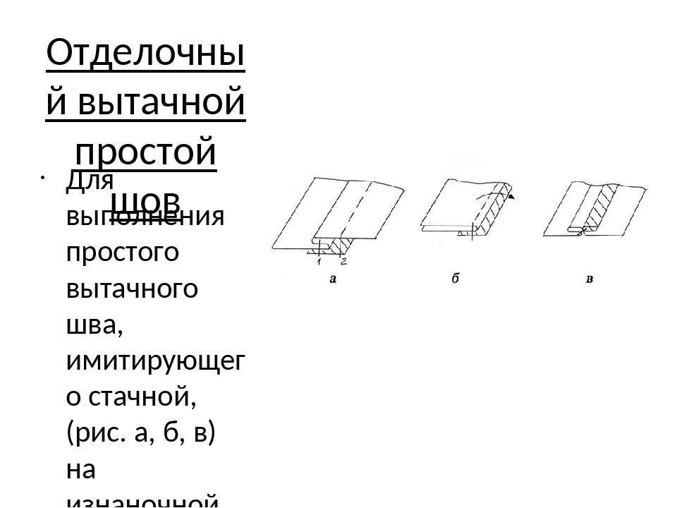 Отделочный вытачной простой шов Для выполнения простого вытачного шва, имитир...