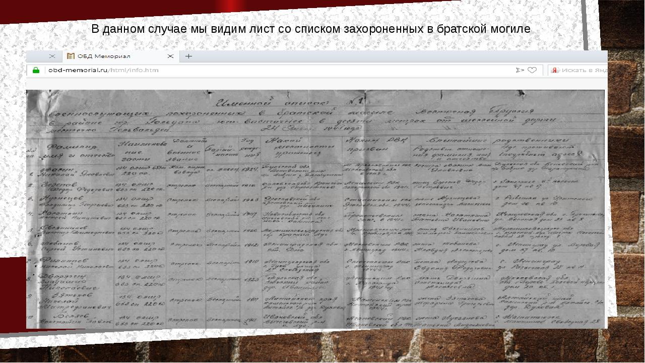 В данном случае мы видим лист со списком захороненных в братской могиле