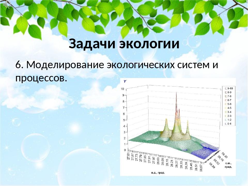 6. Моделирование экологических систем и процессов. Задачи экологии