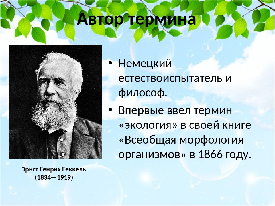 Автор термина Немецкий естествоиспытатель и философ. Впервые ввел термин «эко...