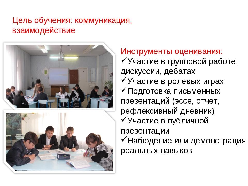 Цель обучения: коммуникация, взаимодействие Инструменты оценивания: Участие в...