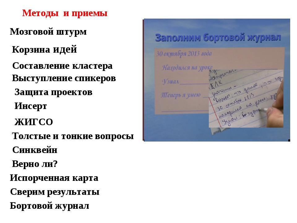 Методы и приемы Мозговой штурм Корзина идей Составление кластера Выступление...