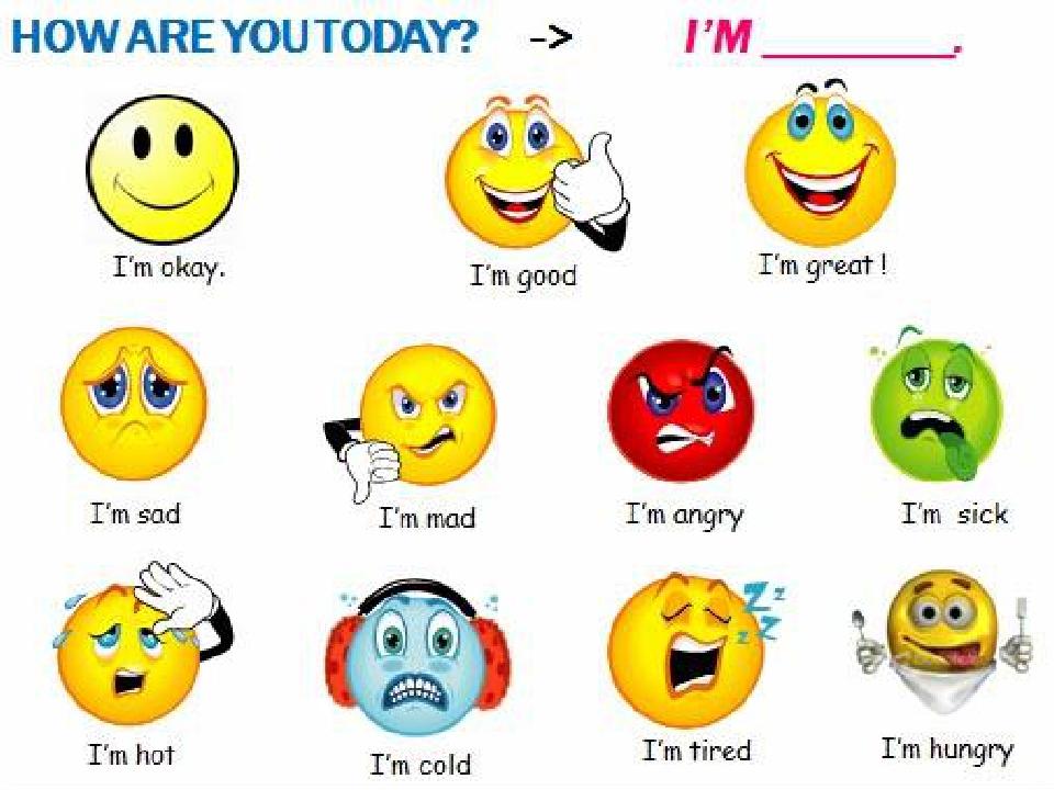 Эмоции смайлики картинки для детей на английском