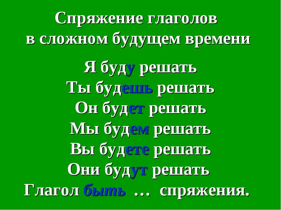 Спряжение глаголов в сложном будущем времени Я буду решать Ты будешь решать О...