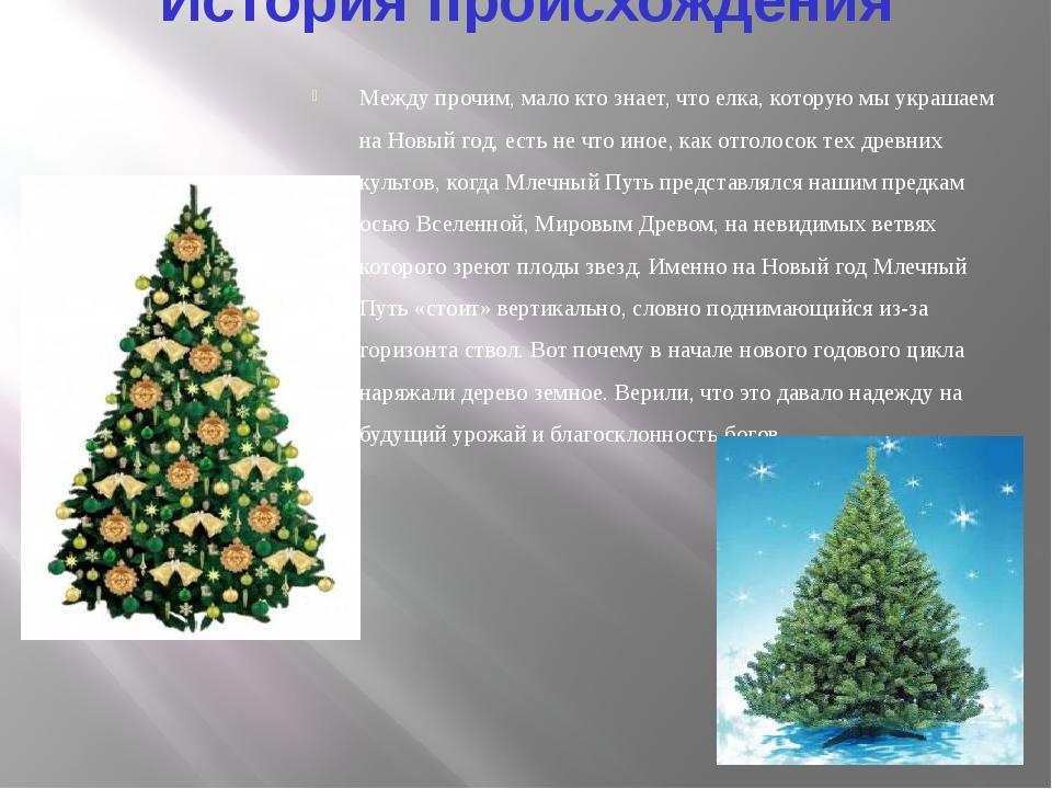 История происхождения Между прочим, мало кто знает, что елка, которую мы укра...