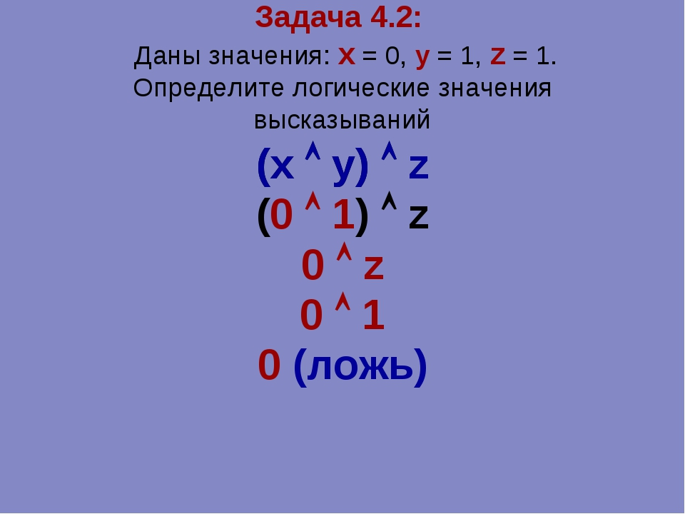 Задача 4.2: Даны значения: x = 0, y = 1, z = 1. Определите логические значени...