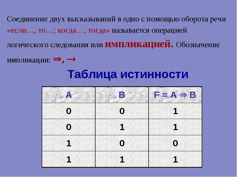 Таблица истинности Соединение двух высказываний в одно с помощью оборота речи...