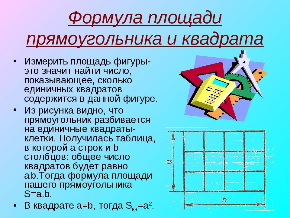 Площадь в математике картинки