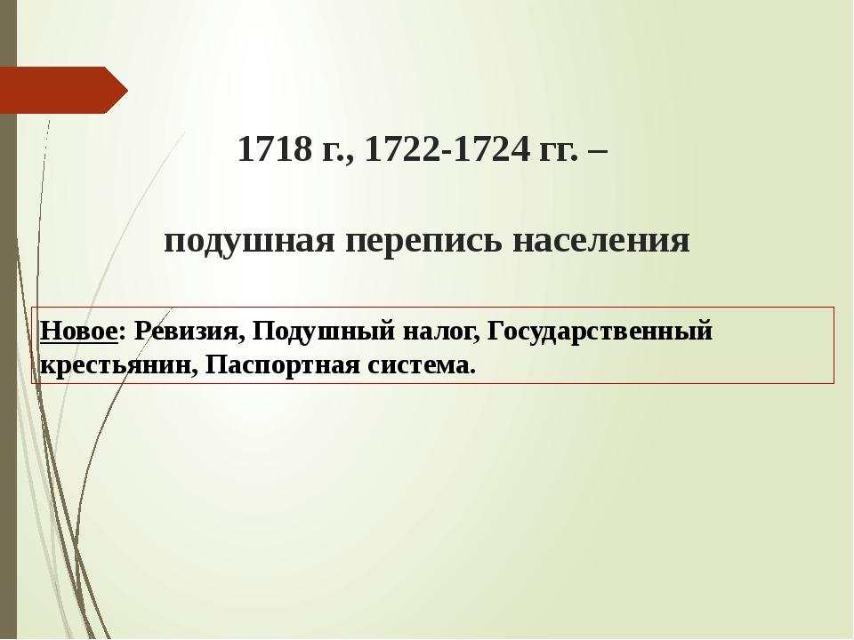 1718 г., 1722-1724 гг. – подушная перепись населения Новое: Ревизия, Подушный...