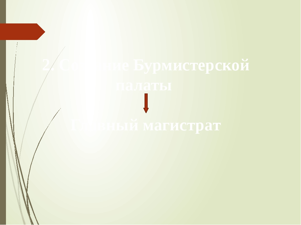2. Создание Бурмистерской палаты Главный магистрат