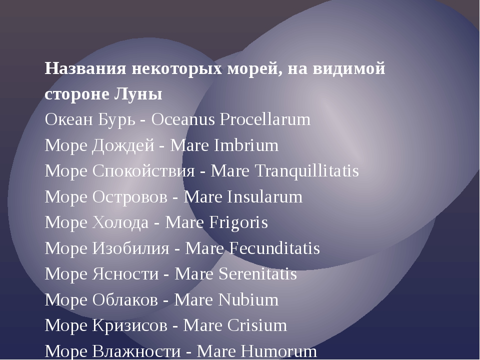 Названия некоторых морей, на видимой стороне Луны Океан Бурь - Oceanus Procel...