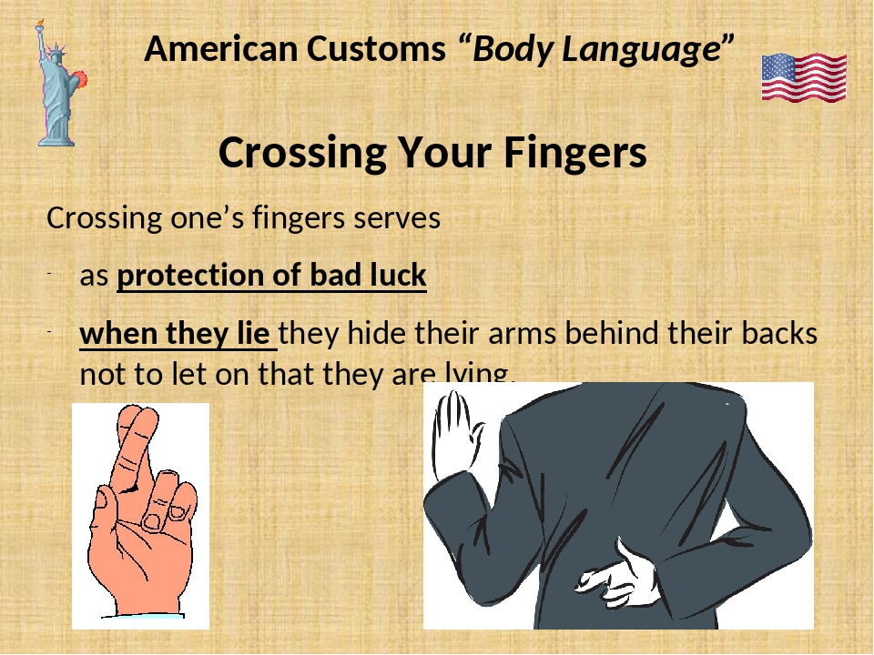 "American Customs ""Body Language"" Crossing Your Fingers Crossing one's fingers..."