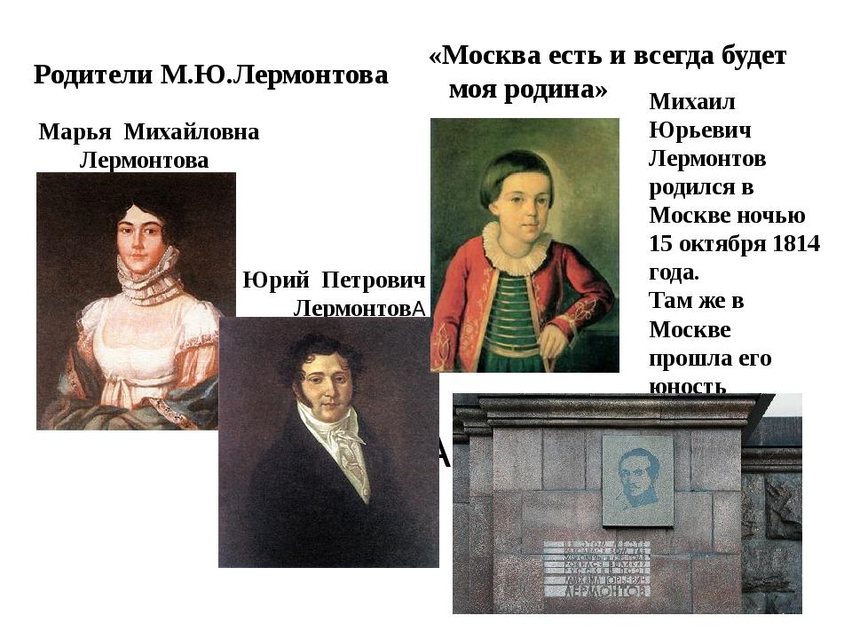 москве адреса знакомых лермонтова в