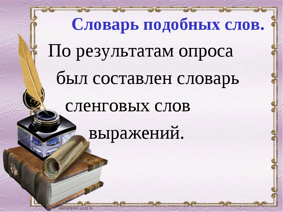 Словарь подобных слов. По результатам опроса был составлен словарь сленговых...