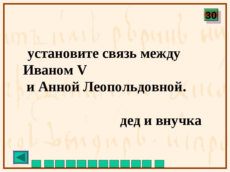 установите связь между Иваном V и Анной Леопольдовной. дед и внучка 30