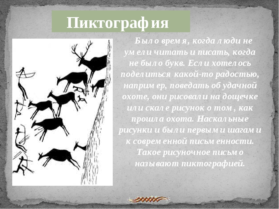 Пиктография Было время, когда люди не умели читать и писать, когда не было б...