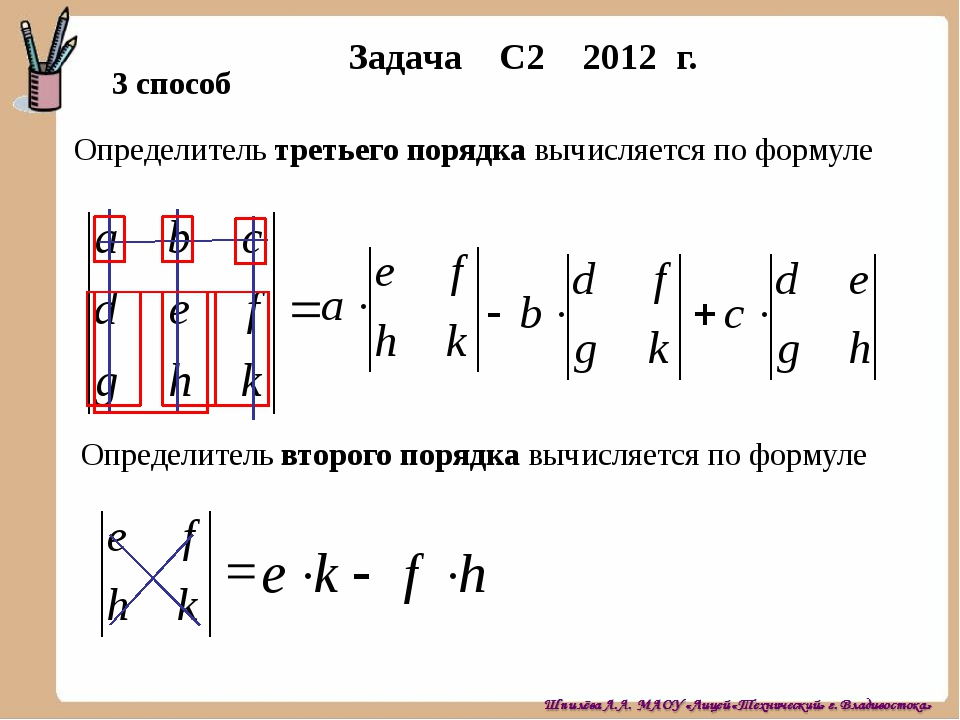 Задача С2 2012 г. 3 способ Определитель третьего порядка вычисляется по форму...