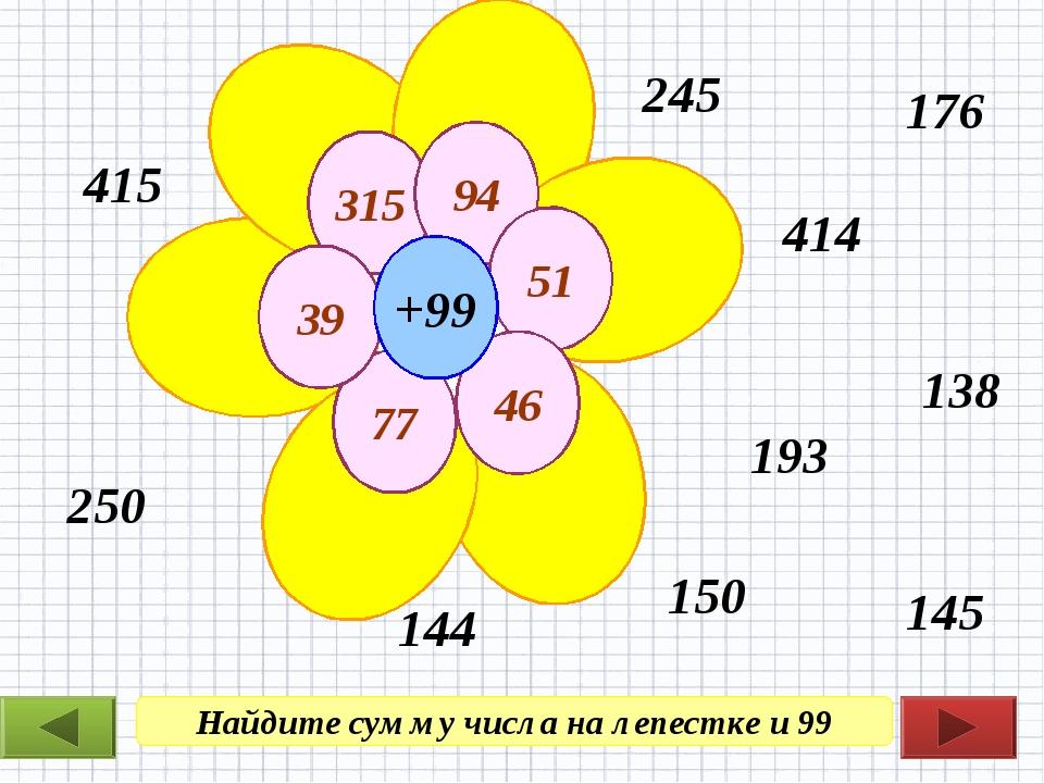 Найдите сумму числа на лепестке и 99 250 414 193 245 176 138 144 145 415 150...