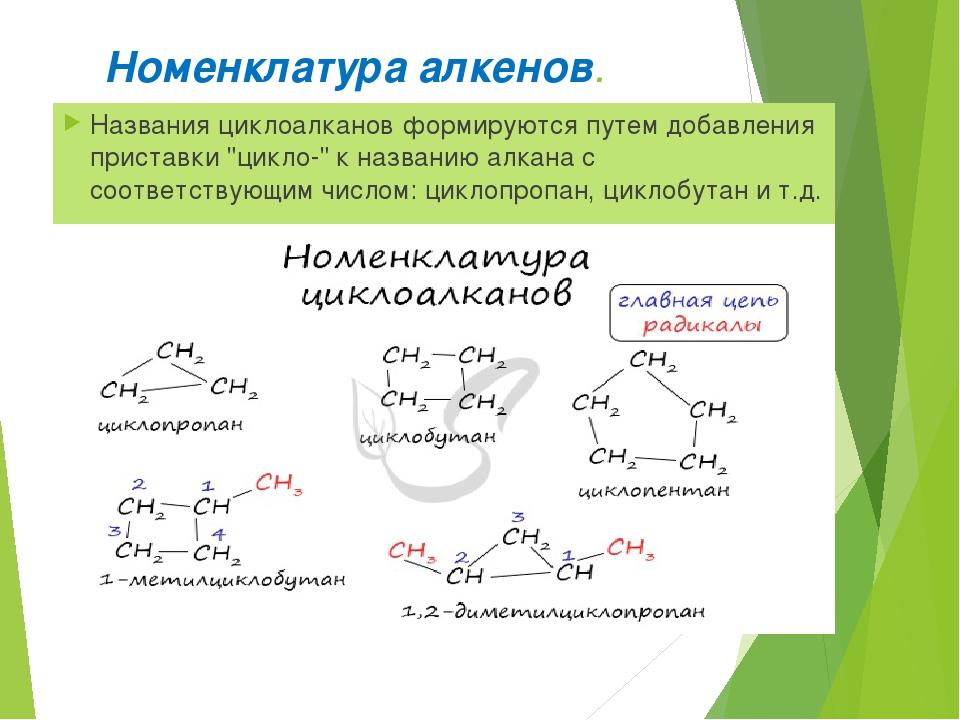 Номенклатура алкенов. Названия циклоалканов формируются путем добавления прис...