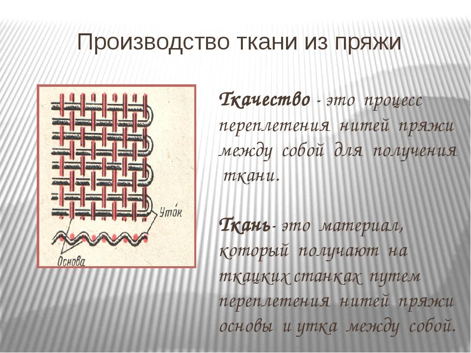 Производство ткани из пряжи Ткачество - это процесс переплетения нитей пряжи...