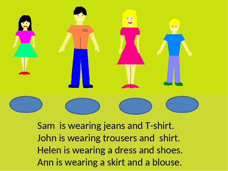 Sam is wearing jeans and T-shirt. John is wearing trousers and shirt. Helen i...