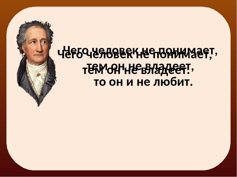 Чего человек не понимает, тем он не владеет. Чего человек не понимает, тем он...