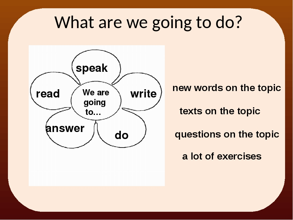 What are we going to do? We are going to… read speak write do answer a lot o...