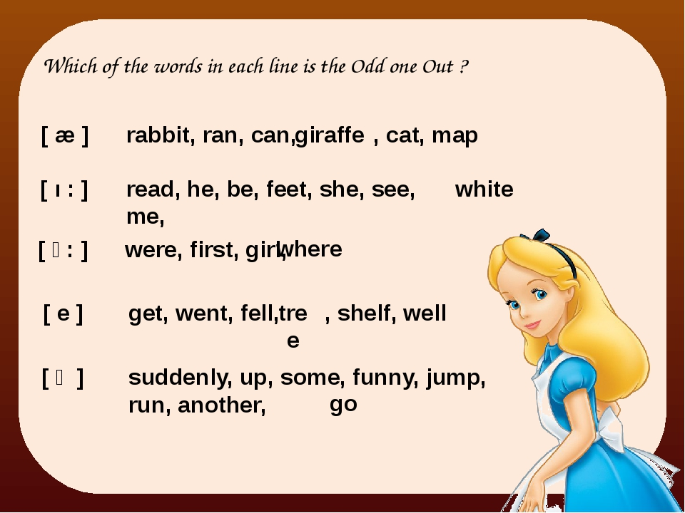 [ æ ] Which of the words in each line is the Odd one Out ? rabbit, ran, can,...