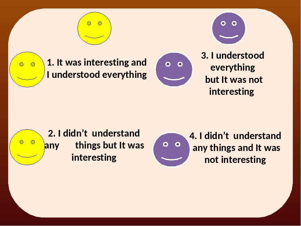 1. It was interesting and I understood everything 3. I understood everything...
