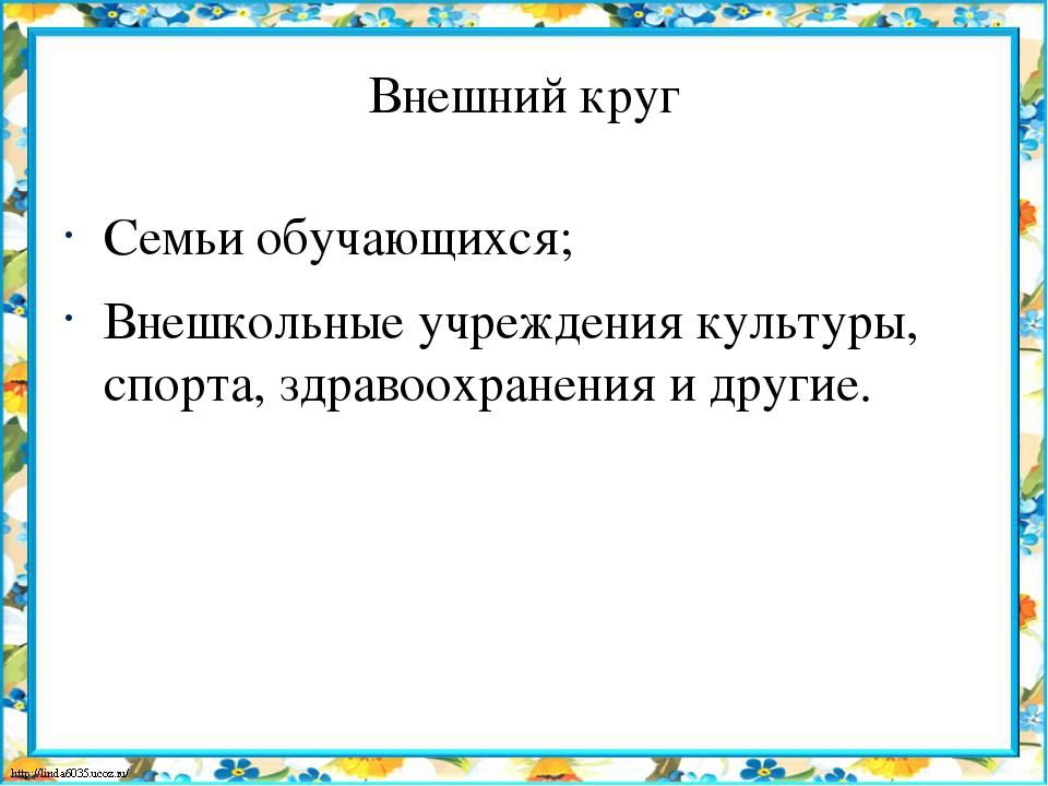 Внешний круг Семьи обучающихся; Внешкольные учреждения культуры, спорта, здра...