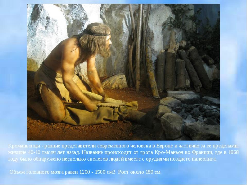 Кроманьонцы - ранние представители современного человека в Европе и частично...