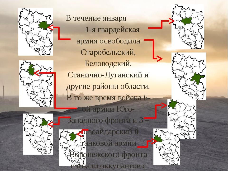 В течение января 1-я гвардейская армия освободила Старобельский, Беловодский,...