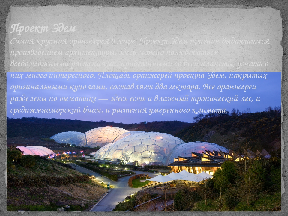 Проект Эдем Самая крупная оранжерея в мире. Проект Эдем признан выдающимся пр...