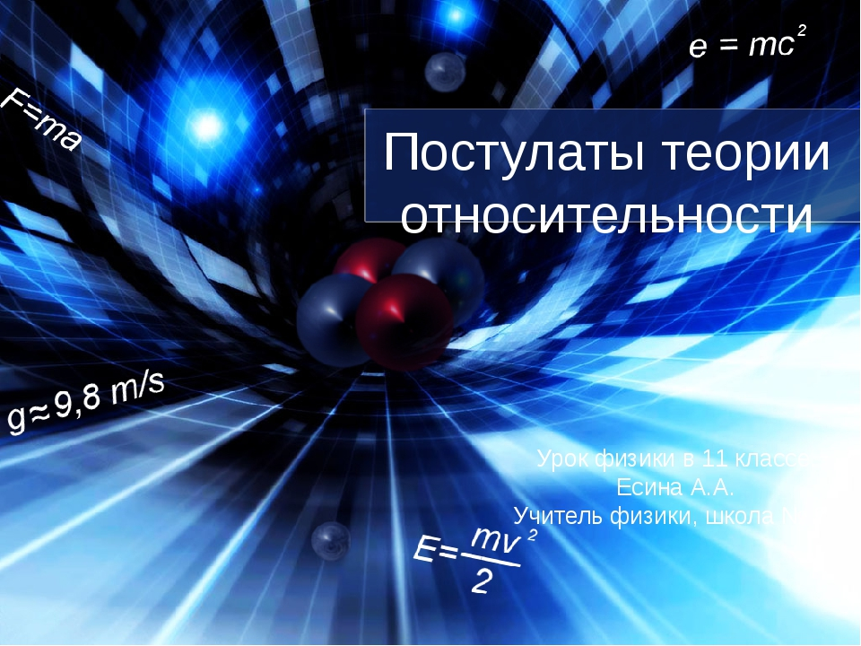 Постулаты теории относительности Урок физики в 11 классе. Есина А.А. Учитель...