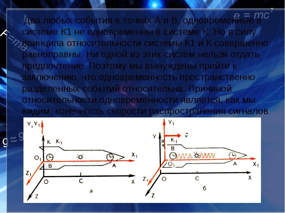 Два любых события в точках А и В, одновременные в системе К1 не одновременны...
