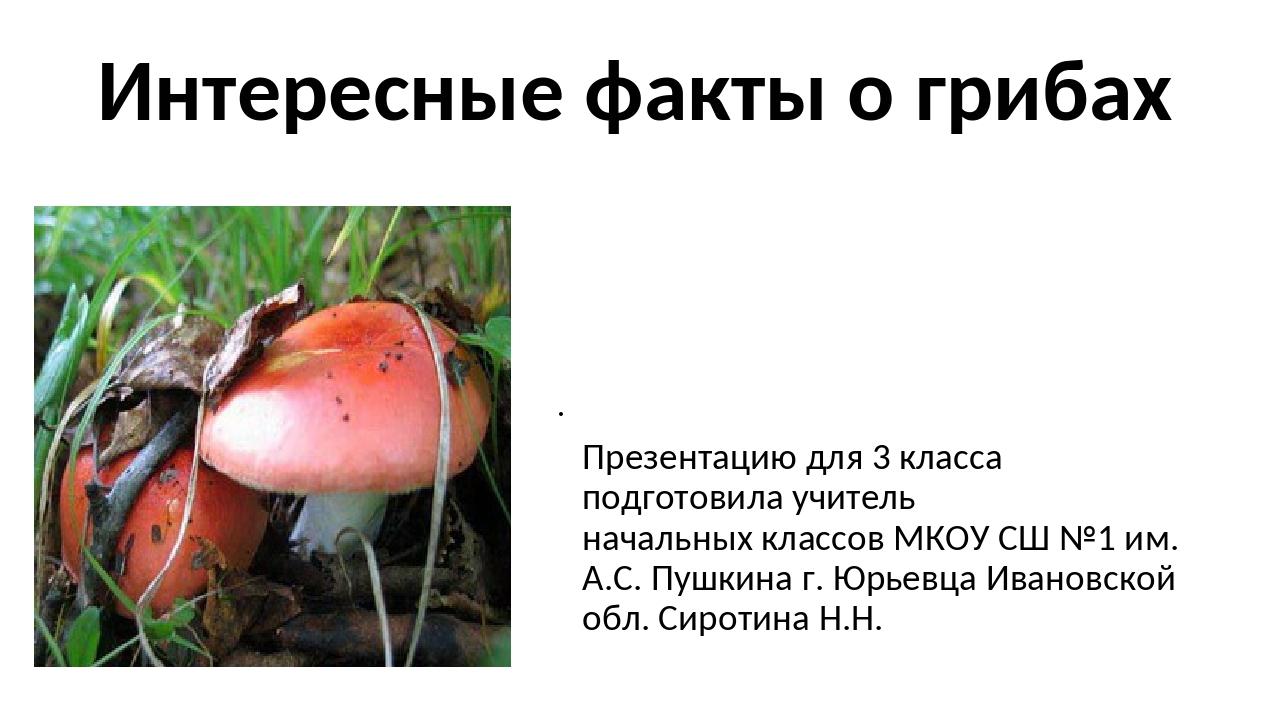 Интересные факты о грибах Презентацию для 3 класса подготовила учитель началь...