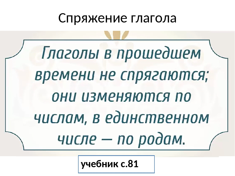 Спряжение глагола учебник с.81
