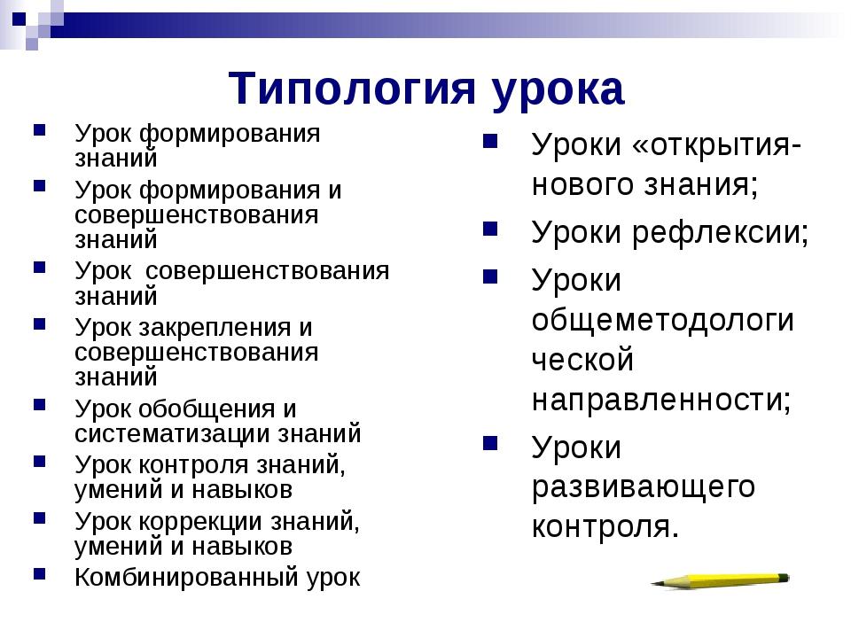 Типология урока Урок формирования знаний Урок формирования и совершенствовани...