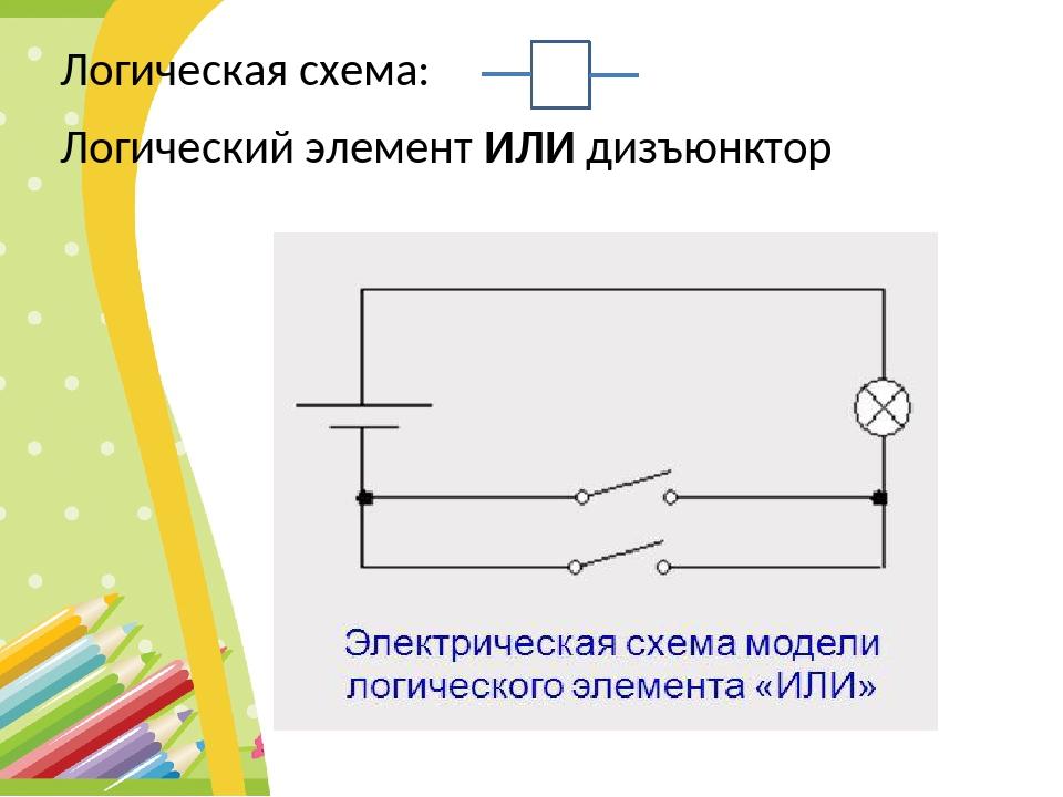 Логическая схема: Логический элемент ИЛИ дизъюнктор 1