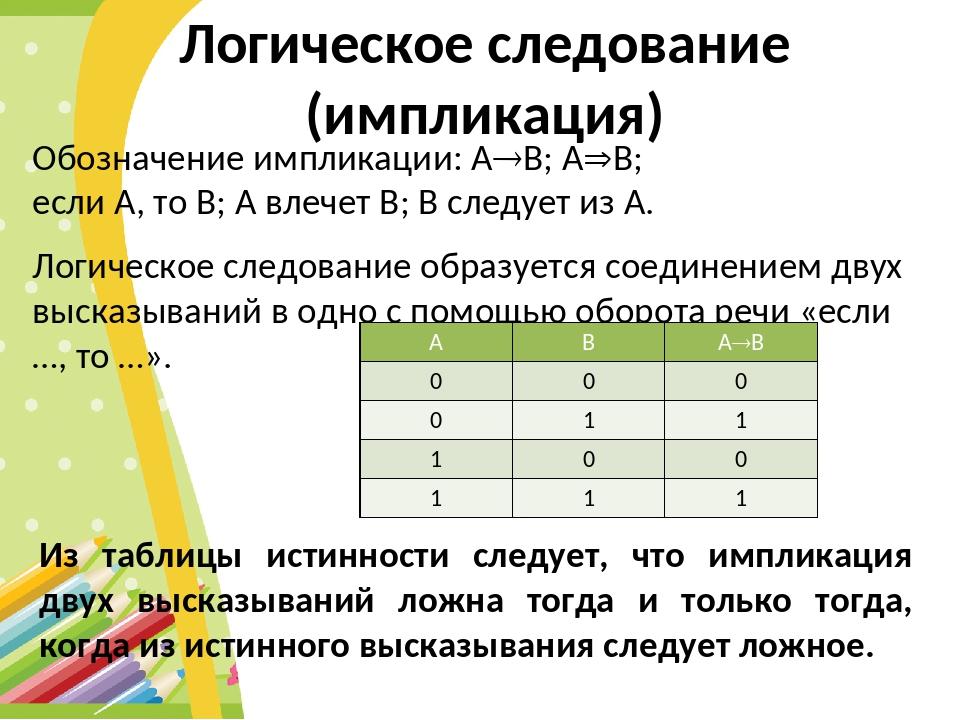 Логическое следование (импликация) Обозначение импликации: АВ; АB; если А,...
