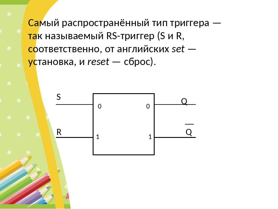 Самый распространённый тип триггера — так называемый RS-триггер (S и R, соотв...