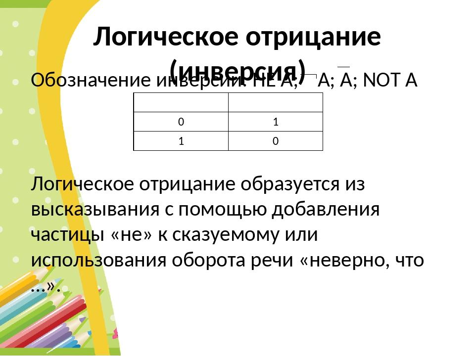 Логическое отрицание (инверсия) Обозначение инверсии: НЕ А; А; A; NOT A Логич...