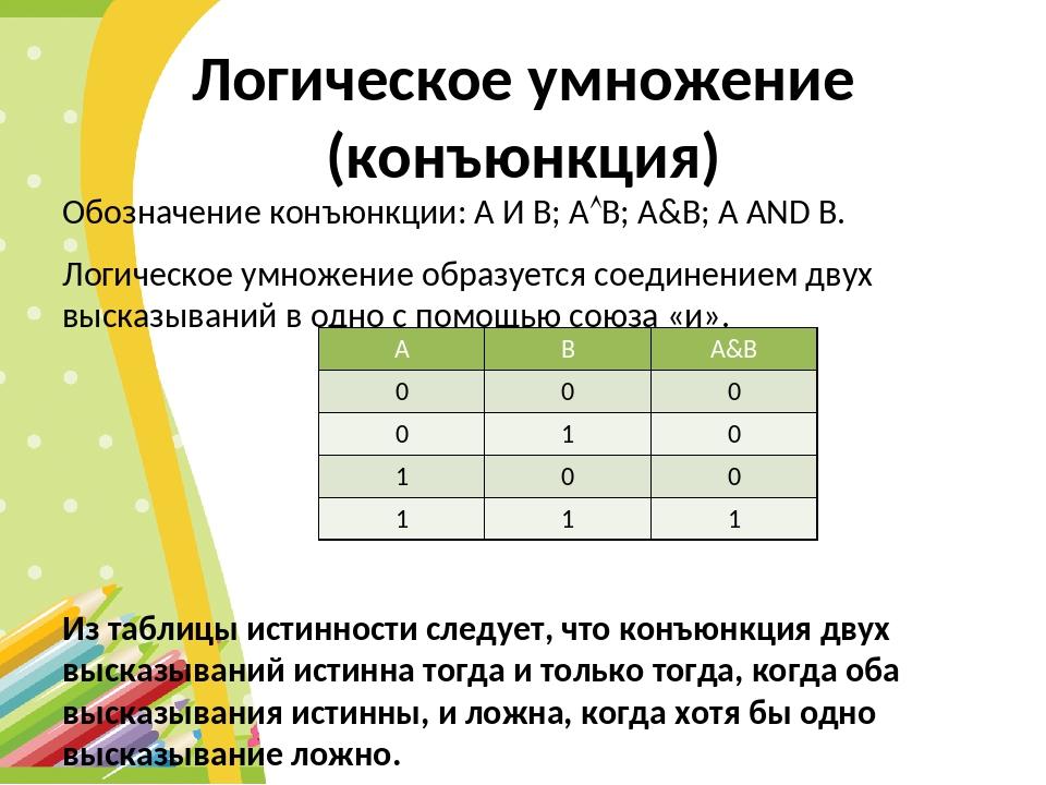 Логическое умножение (конъюнкция) Обозначение конъюнкции: А И В; АВ; А&B; A...