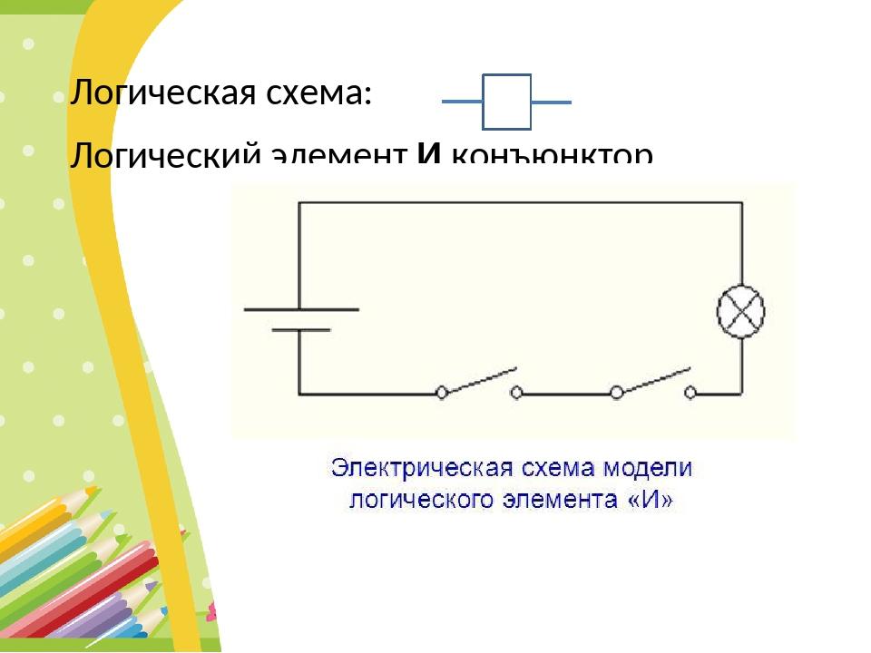 Логическая схема: Логический элемент И конъюнктор &