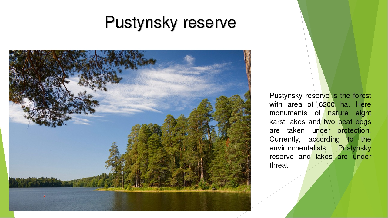 Pustynsky reserve Pustynsky reserve is the forest with area of 6200 ha. Here...