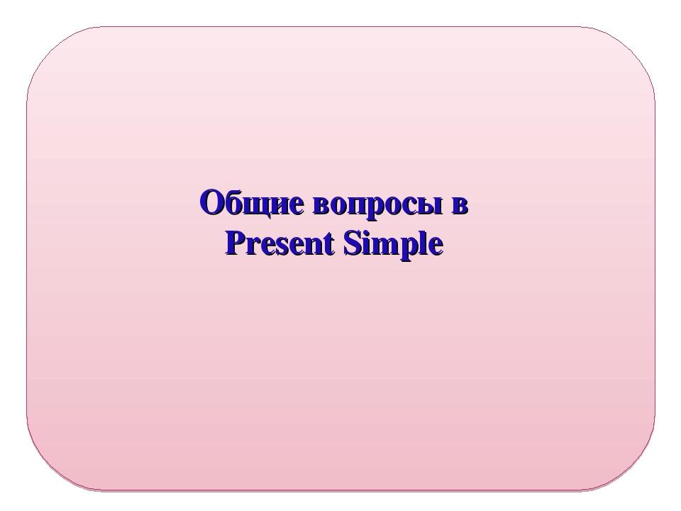 Общие вопросы в Present Simple