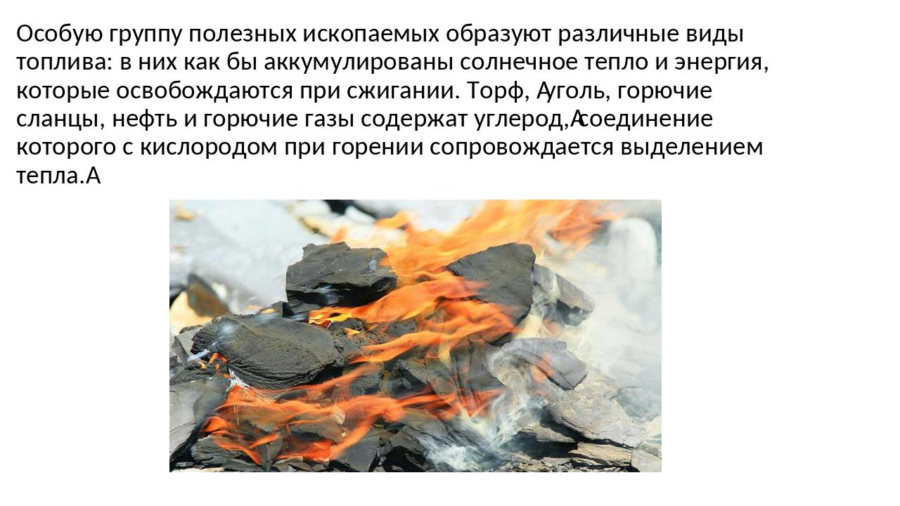 Особую группу полезных ископаемых образуют различные виды топлива: в них как...